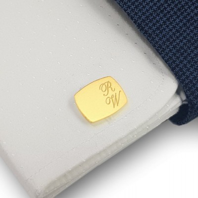 Custom gold cufflinks for men | Sterling silver gold plated | Available in 10 fonts | ZD.220G