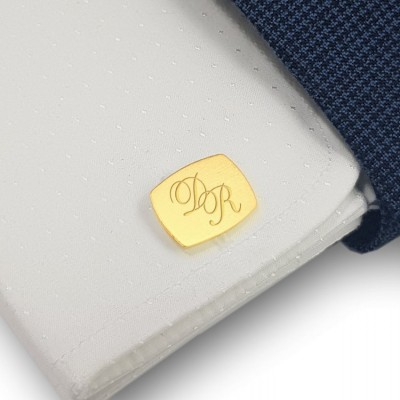 Cufflinks for men gold with Initials | Sterling silver gold plated | Available in 10 fonts | ZD.222G