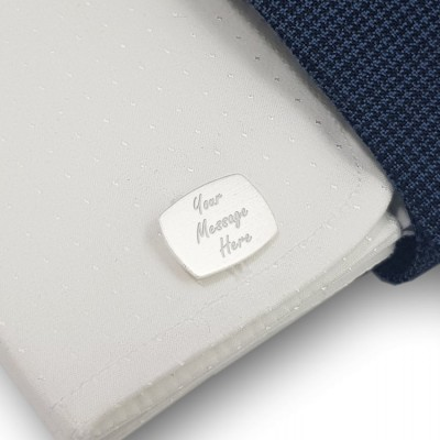 Personalized cufflinks for men   With Your dedication   Sterling silver   Available in 10 fonts   ZD.227