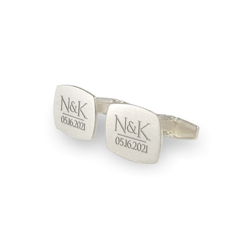 Cufflinks for men wedding   With the initials and date of the wedding or anniversary   Sterling silver   ZD.225