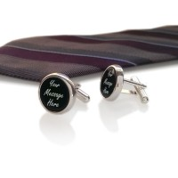 Personalized cufflinks | With Your dedication on Onyx stone | Sterling sillver | Available in 10 fonts | ZD.103