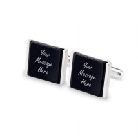 Personalised cufflinks   With Your dedication on Onyx stone   Sterling silver   Available in 10 fonts   ZD.80