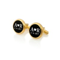 Custom gold plated cufflinks | Gift idea for Men | Sterling silver gold plated | Onyx | ZD.112Gold