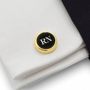 Gold cufflinks with initials on Onyx gemstone | Sterling sillver gold plated | Available in 10 fonts | ZD.108Gold