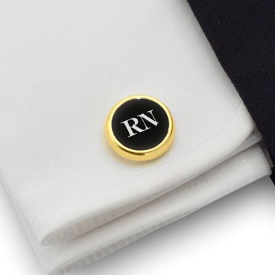 Gold cufflinks with engraved initials on Onyx gemstone | Sterling silver gold plated | Available in 10 fonts | ZD.108Gold