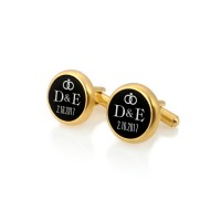 Personalized gold wedding cufflinks | With the Bride and Groom's initials and wedding date | Sillver gold plated | Onyx stone | ZD.102Gold