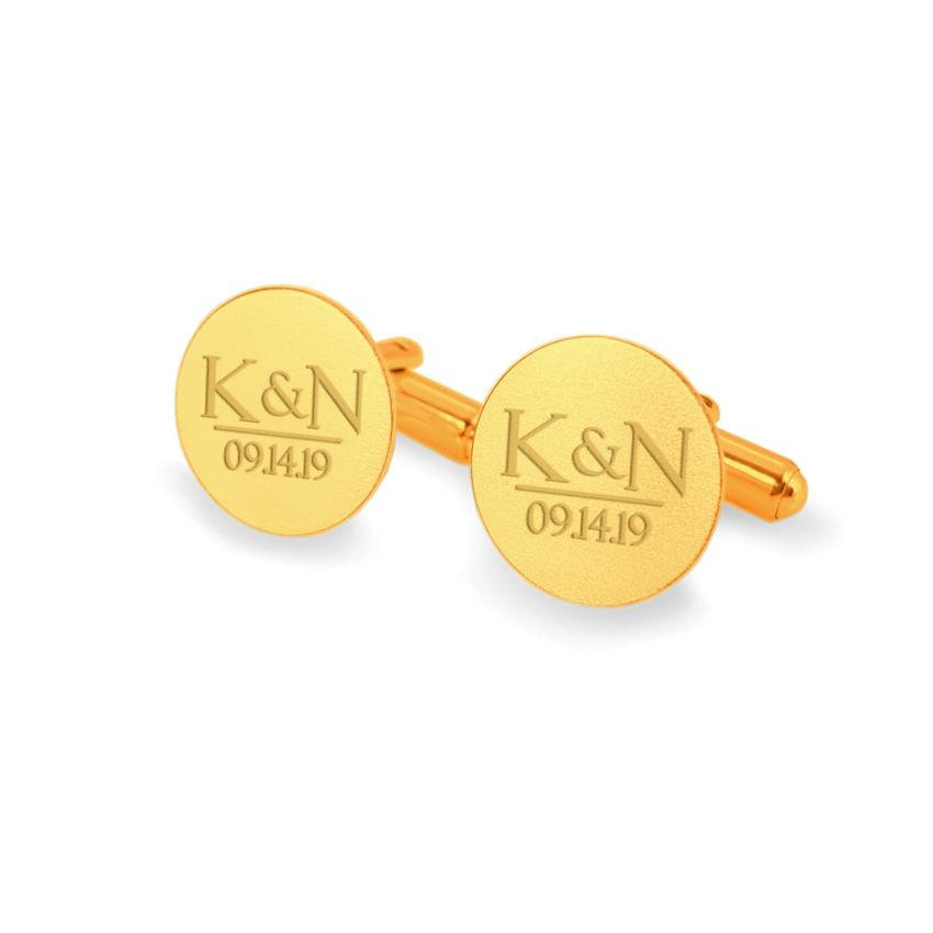 Customized Wedding Gold Cufflinks | With the initials and date of the wedding or anniversary | Sterling silver gold plated | ZD.173Gold