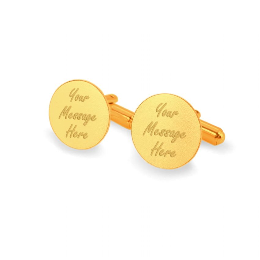 Customized gold cufflinks | With Your dedication | Sterling sillver gold plated | Available in 10 fonts | ZD.137Gold