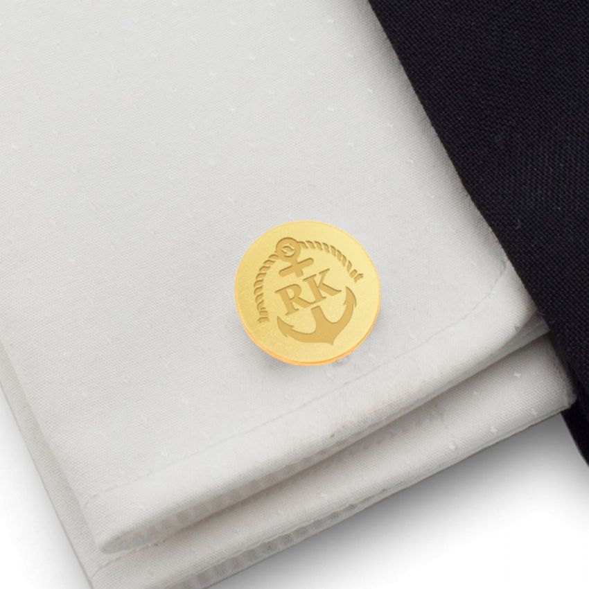 Gold Anchor Cufflinks | With Your initials and date | Sterling silver gold plated | Available in 14 ikons | ZD.165Gold