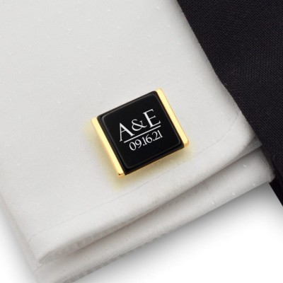 Groom cufflinks from bride | Initials and date of the wedding or anniversary | Sterling silver gold plated | ZD.202GOLD