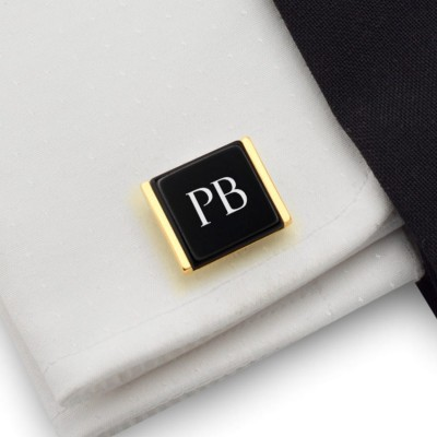 Groom cufflinks with engraved initials on Onyx gemstone | Sterling silver gold plated | Available in 10 fonts | ZD.207Gold