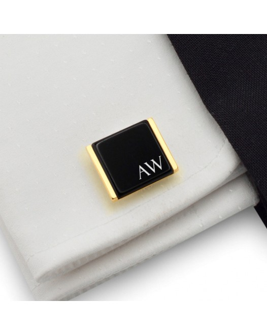 Gold cufflinks with engraved initials on Onyx gemstone | Sterling silver gold plated | Available in 10 fonts | ZD.91Gold