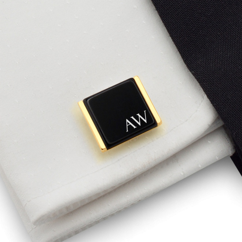 Gold cufflinks with initials on Onyx gemstone | Sterling sillver gold plated | Available in 10 fonts | ZD.91Gold
