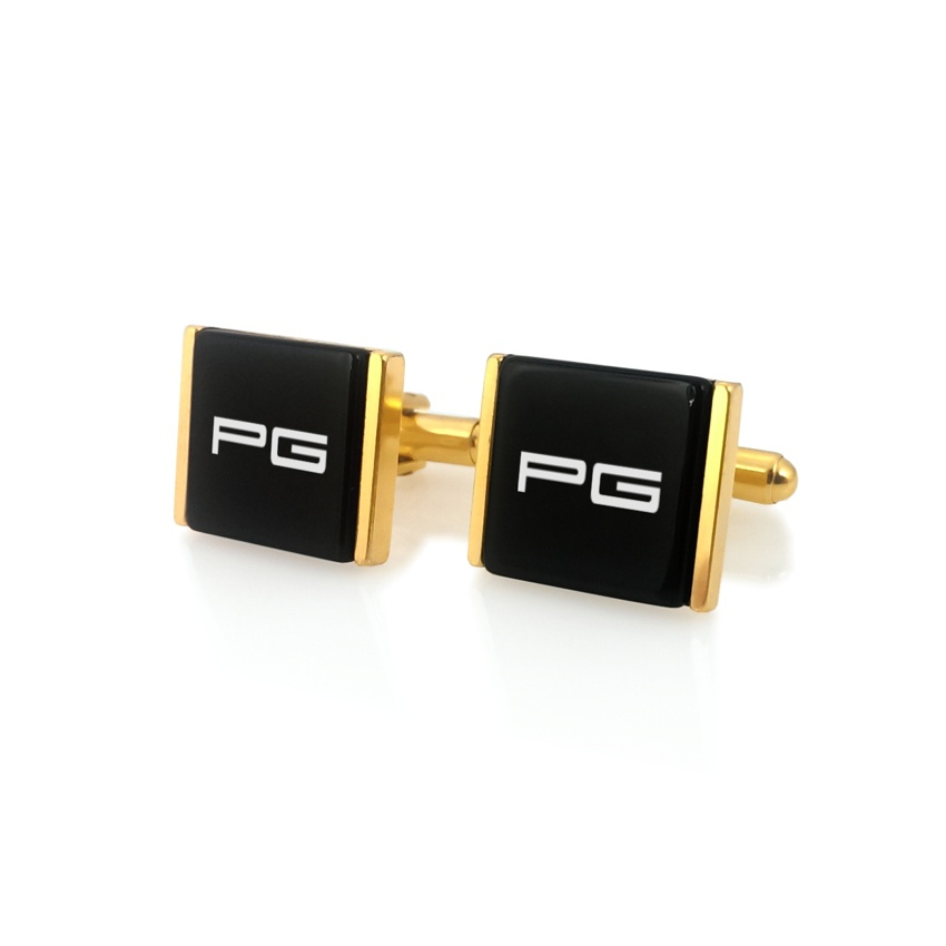 Cufflinks with engraved Initials on onyx gemstone | Sterling silver | Available in 10 fonts | ZD.75