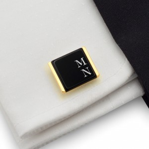 Gold cufflinks with initials on Onyx gemstone | Sterling sillver gold plated | Available in 10 fonts | ZD.74Gold