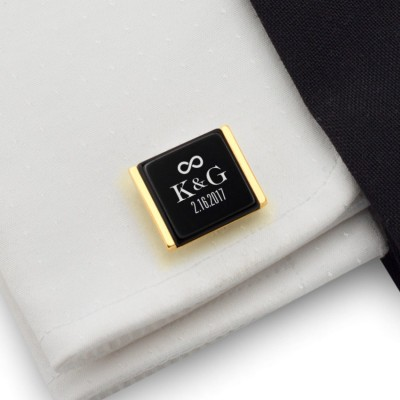 Personalized wedding cufflinks | With the Bride and Groom's initials and wedding date | Sillver gold plated | Onyx stone | ZD.94Gold