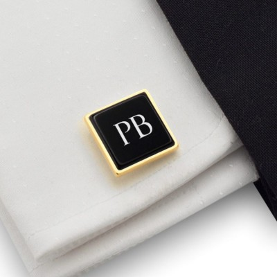 Personalized gold Cufflinks with engraving on onyx gemstone | Sterling silver gold plated | Available in 10 fonts | ZD.206GOLD