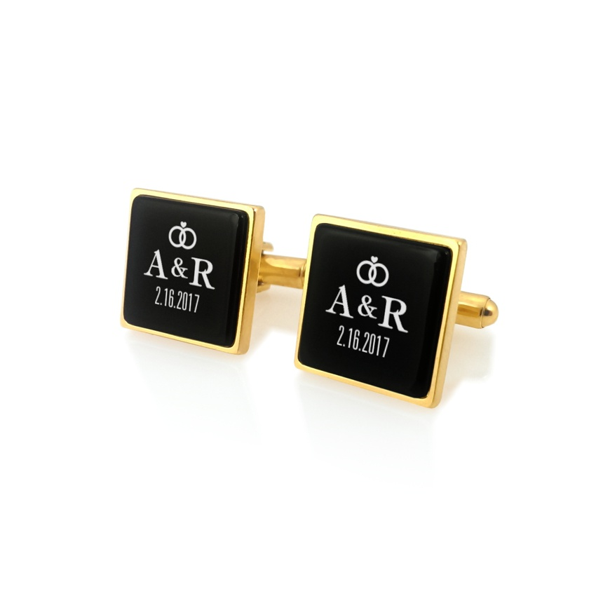 Custom wedding cufflinks | With the Bride and Groom's initials and wedding date | Sillver gold plated | Onyx stone | ZD.93Gold