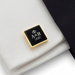 Custom wedding gold cufflinks | With the Bride and Groom's initials and wedding date | Silver gold plated | Onyx stone | ZD.93Gold