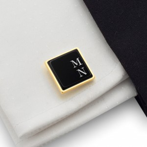 Engraved gold and black Cufflinks with Initials on onyx gemstone | Sterling silver gold plated | Available in 10 fonts | ZD.66GOLD