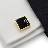 Initials cufflinks on Onyx stone | Sterling sillver | Available in 10 fonts | ZD.66