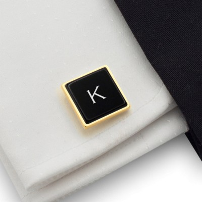 One letter initial gold cufflinks with onyx gemstone | Sterling silver gold plated | Available in 10 fonts | ZD.68GOLD