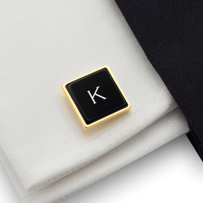 Cufflinks with engraved Initials on onyx gemstone | Sterling silver | Available in 10 fonts | ZD.68