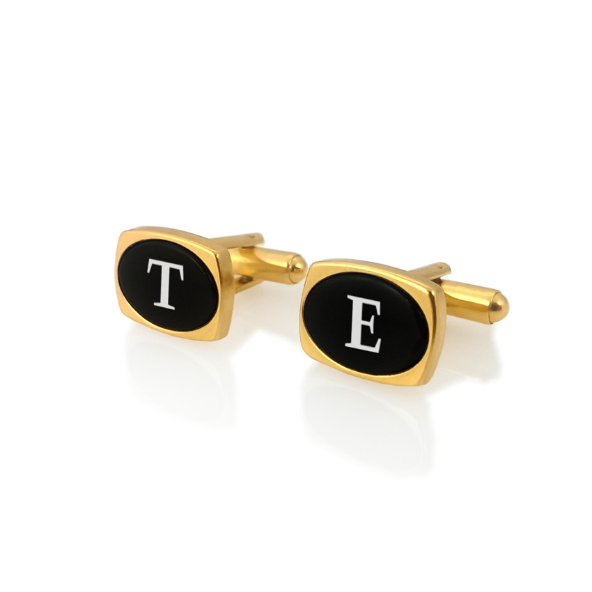 Gold cufflinks with initials on Onyx gemstone | Sterling sillver gold plated | Available in 10 fonts | ZD.85Gold