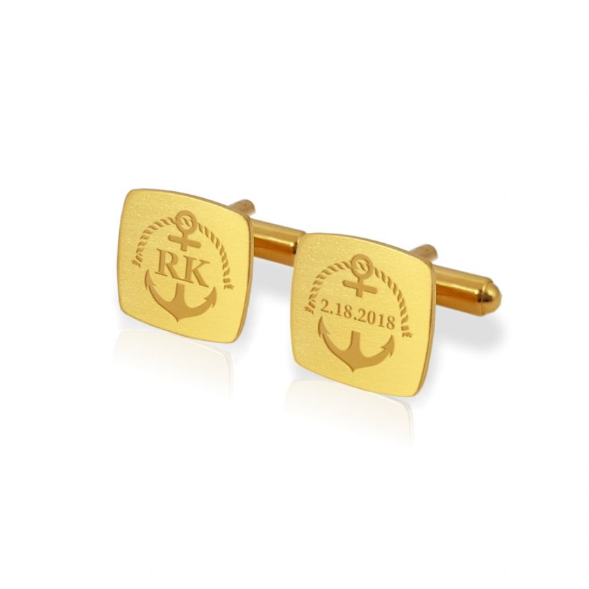 Gold Anchor Cufflinks | With Your initials and date | Sterling silver gold plated | Available in 14 ikons | ZD.164Gold