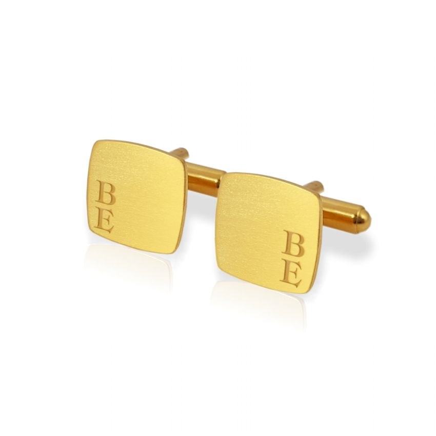 Gold cufflinks with Initials | Sterling sillver gold plated | Available in 10 fonts | ZD.126Gold