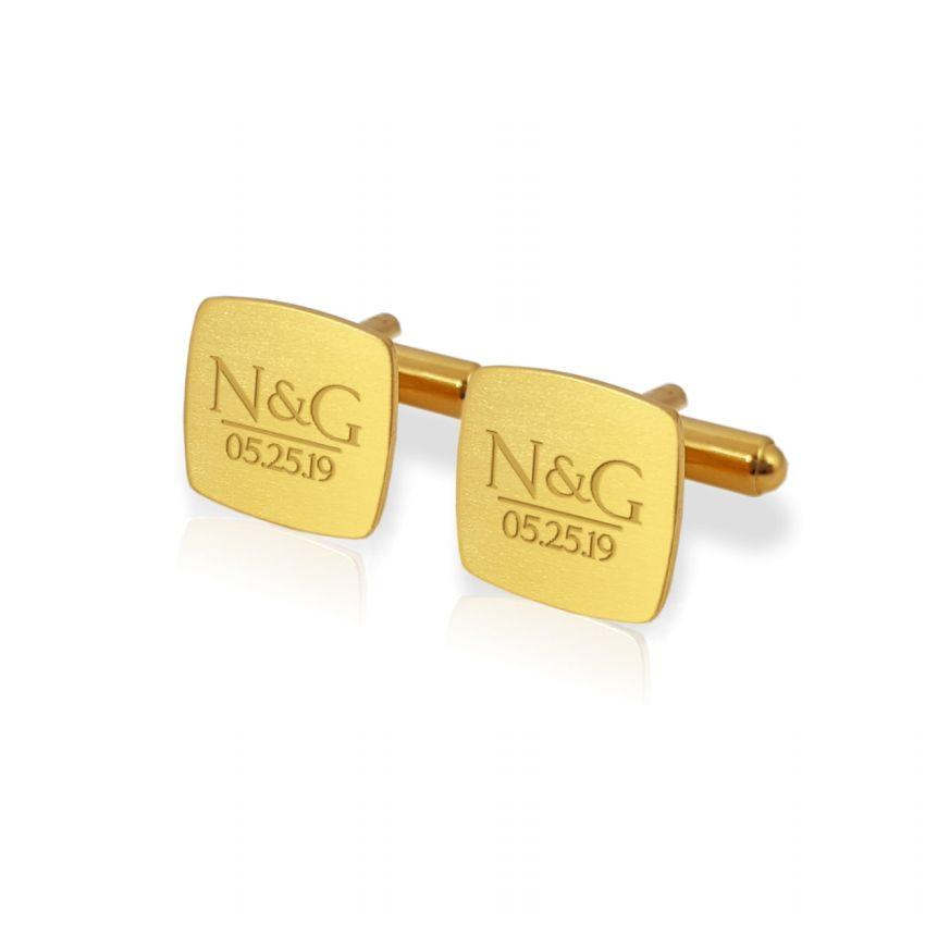 Personalized gold cufflinks | With the initials and date of the wedding or anniversary | Sterling silver gold plated | ZD.172Gold