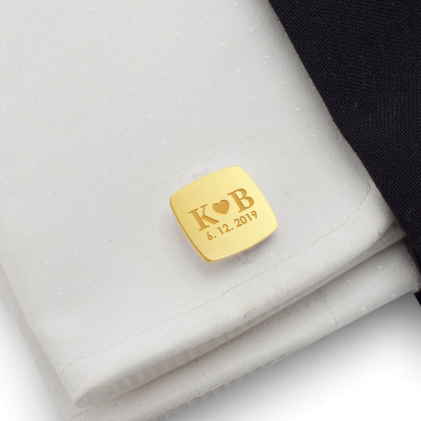 Engraved Gold cufflinks | Gift idea for Men | Sterling silver gold plated | ZD.39Gold