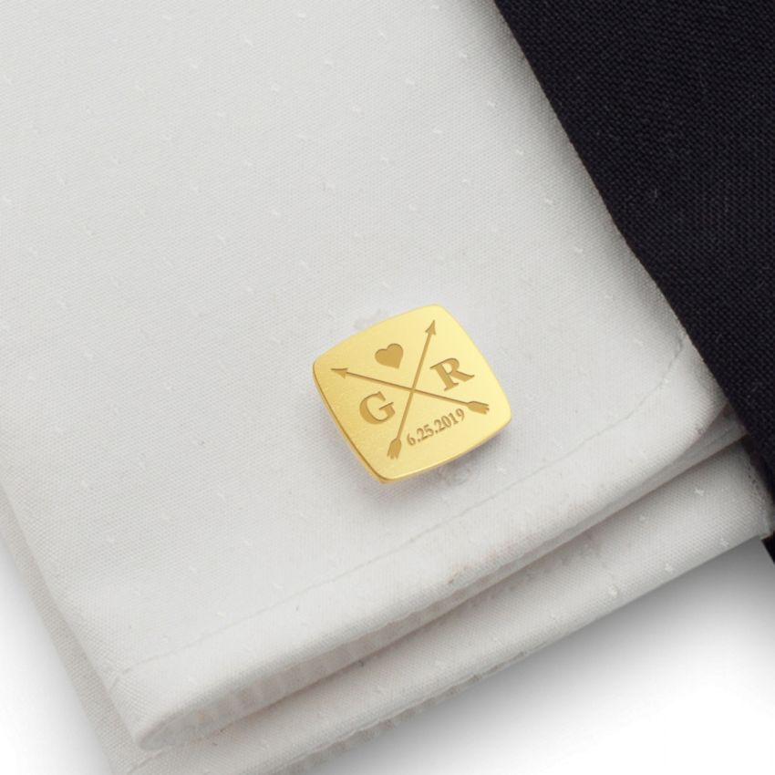 Wedding arrow Gold Cufflinks | With the Bride and Groom's initials and wedding date | Sterling silver gold plated | ZD.170Gold