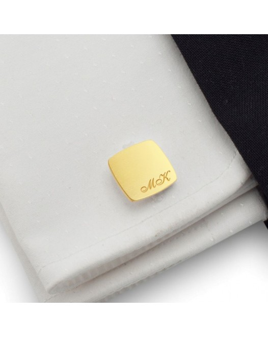 Custom gold cufflinks with Initials | Sterling silver gold plated | Available in 10 fonts | ZD.97Gold