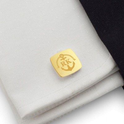 Gold Anchor Cufflinks | With Your initials nad date | Sterling sillver gold plated | Available in 14 ikons | ZD.164Gold