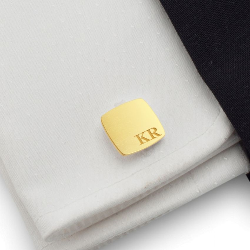 Custom gold cufflinks with Initials | Sterling sillver gold plated | Available in 10 fonts | ZD.97Gold